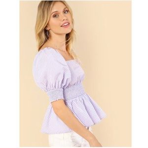 Purple and White Striped Bardot Top Size Large